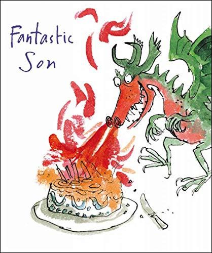 Quentin Blake - Tarjeta de cumpleaños para hombre o niño (WDM-456190), diseño de dragón de fuego