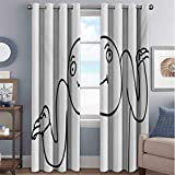 Humor Blackout Curtains with Grommets darken Whatever Guy Meme Confusion Gesture Label Creative Drawing Rage Makers Design 2 Panels W72 x L72 Inch Black and White