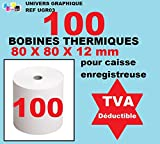 lot de 100 - Bobine Papier Thermique, 80 x 80 x 12 mm , Lot de 100 rouleaux thermique...