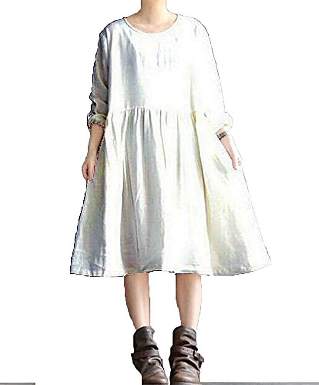 Angel&Lily Linen Blend Tunic Swing Dress plus1x10x