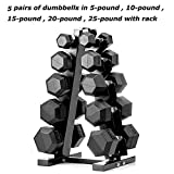 PAPABABE Dumbbells Rubber Encased Hex Dumbbell Free Weights Dumbbells Set with Rack Man Women Home...