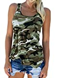 Auxo Mujeres Chaleco Tops Sexy Camisa sin mangas Impreso Racer Volver Verano Casual Camiseta Blusa sin mangas 02-Camuflaje X-Large