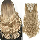 Haarteil Clip in Extensions wie Echthaar 8 Teile 18 Clips Günstig Weich Haarverlängerung Synthetische Gewellt Haare 60cm-140g Blond