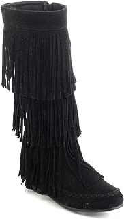 womens black fringe boots