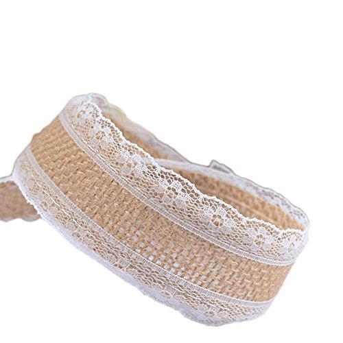 Tinksky bandes en tissu dameublement toile de Jute avec dentelle pour le cadeau dartisanat projets de bricolage 200/x 5/cm /à