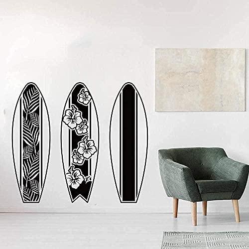 wwhhh pegatina de pared tabla de surf playa flor tabla de surf flor verano playa tabla de surf vinilo decoración de habitación 76X68 cm