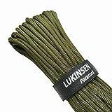 Lukinsen パラコード 9芯 4mm 30m/50m マジックテープ付 パラシュートコード 耐荷重280kg テントロープ ガイロープ キャンプ アウトドア用 (アミーグリーン,30m)