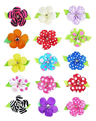 Small Baby Hair Clips,Toddler Hair Clips-15ct 1.5' Hair Flowers for Girls-Grosgrain Ribbon No Slip Grip Metal Barrettes for Girls Teens Toddlers Kids Women,Baby Girl Hair Accessories