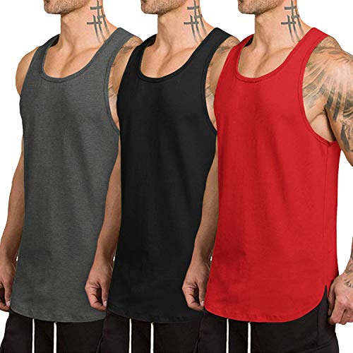 COOFANDY Men's 3 Pack Quick Dry Workout Tank Top Gym Muscle Tee Fitness Bodybuilding Sleeveless T Shirts (01Black/Dark Gray/Red, Large)