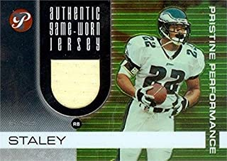 Autograph Warehouse 344934 Duce Staley Player Worn Jersey Patch Football Card - Philadelphia Eagles 2003 Topps Pristine No. PPDS