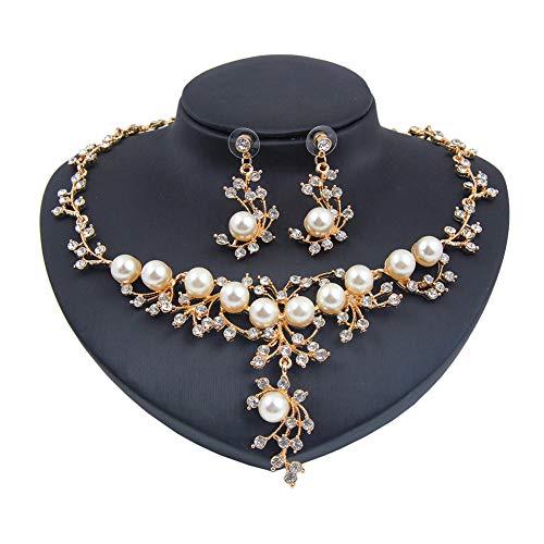 Yddxy Collar de Mujer Pendiente Cristal Perla Diamante Colgante Moda Aleación Rhinestone Conjunto de Joyas (Pendiente + Collar)