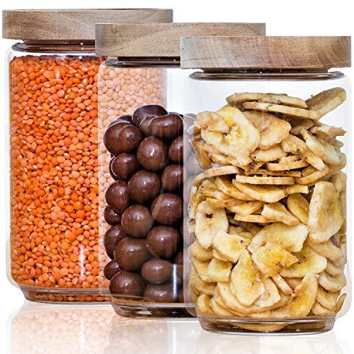 Econovo® Vorratsgläser Set mit Deckel (3-teilig) aus verstärktem Borosilikatglas, stapelbar und luftdicht, Vorratsdosen Glas-Behälter Set für Lebensmittel groß und klein 700ml