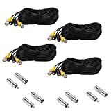 Henxlco 4 Pack 50 feet Security Camera Video Power Cable Pre-Made All-in-One BNC RCA Extension Cable Surveillance DVR CCTV System Cord Wire