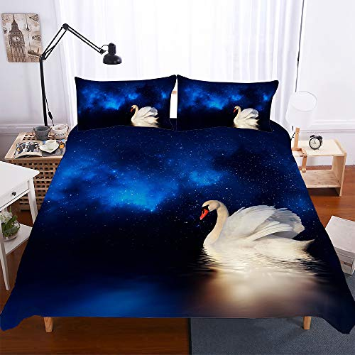 Duvet Cover Set Double 79x79 inch 3 pieces with 2 Pillowcases 20x30 inch White Swan 3D Printed Children Boys Girls bedding set with Zipper Closure Ultra Soft Quilt Cover Sets