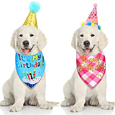 4 Pieces Dog Birthday Bandana Scarf Set Happy Birthday Triangle Cotton Dog Scarf with Cute Party Hat for Pet Puppy Cat Birthday Party Supplies Decorations Birthday Outfit (M)