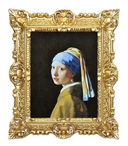 Idea Casa Stampa su Carta Telata Quadro Jan Vermeer Ragazza con Orecchino di Perla con Cornice in Stile Barocco cm 45X37 (Oro)