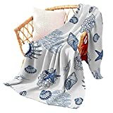 Starfish Blanket Fannel Sea Shell Throw Blankets Coastal Quilt Decoration Soft Cozy Microfiber for Beachy Home Decor Premium Navy Blue Marine Seascape for Bed, Couch or Sofa 40x50 inch