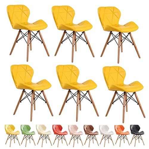 zyy Küchenstühle im Retro-Stil, bequemer Kunstlederbezug, gepolsterte Sitzfläche, natürliche Massivholzbeine,...