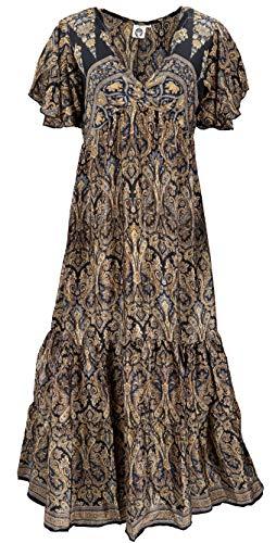 Guru-Shop Boho Maxikleid, Sommerkleid, Strandkleid, Hippiekleid, Damen, Schwarz, Synthetisch, Size:S (36), Lange & Midi-Kleider Alternative Bekleidung