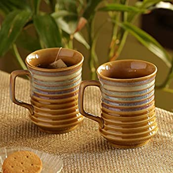 ExclusiveLane Dual-Glazed Studio Pottery Serving Tea Cups Set & Ceramic Coffee Mugs Set of 2 (350 ML, Mustard Yellow and Off White, Microwave & Dishwasher Safe)