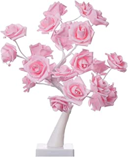 AMERTEER Table Lights Tree Shape 24Warm White LEDs Battery Operated Desk Lamp Pink Adjustable Rose Flower Fairy Lights Adj...