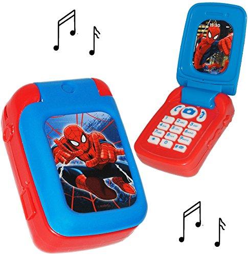 alles-meine.de GmbH Handy mit Sound -  Spider-Man  - für Kinder / Jungen & Mädchen - Auto - elektrisches Kinderhandy - Klapphandy Telefon - Lernhandy / Kindertelefon zum Aufkla..