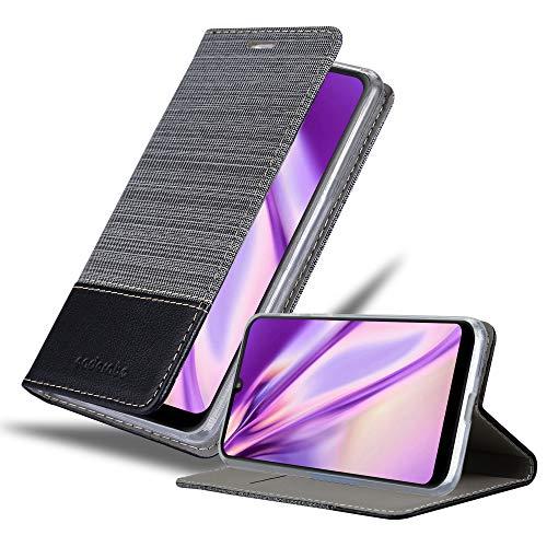 Cadorabo Hülle für Motorola Moto E6 Plus in GRAU SCHWARZ - Handyhülle mit Magnetverschluss, Standfunktion & Kartenfach - Hülle Cover Schutzhülle Etui Tasche Book Klapp Style