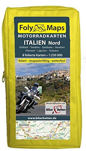 FolyMaps Motorradkarten Italien Nord: 1:250 000 Südtirol, Trentino, Gardasee, Piemont, Ligurien, Toskana, Venetien, Friaul: Südtirol / Trentino / ... / foliert / strapazierfähig / wetterfest