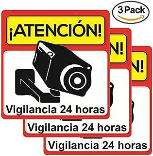 ☆Pack 3 carteles rígidos alarma atención vigilancia 24 horas ☆Kit varios carteles alarma cámara