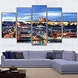 Pinturas modulares en lienzo Decoración para el hogar Arte de la pared 5 piezas con vistas al paisaje de Praga Póster del castillo de la sala de estar + Pinturas modulares en lienzo para la decor