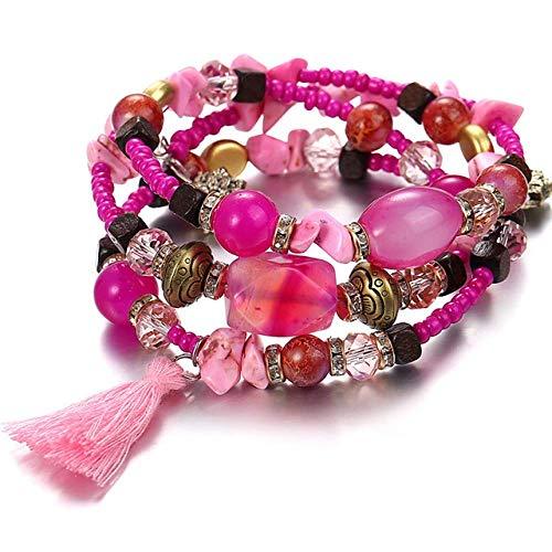 BIJOUX Pulsera de piedra, Pulsera rosa Mujer Joyas Cuentas multicapa Pulsera con dijes Pulseras de piedra de resina vintage natural Brazaletes Cumpleaños étnico Fiesta de bodas