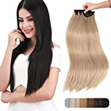 REECHO 24' Thick Long Straight 3PCS Set Clip in on Hair Extensions for Women Girls - Medium Blonde with Pale Highlights