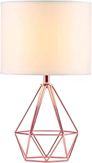 SOTTAE Modern Style Rose Gold Hollowed Out Base Living Room Bedroom Beside Table Lamp, Desk Lamp with White Fabric Shade