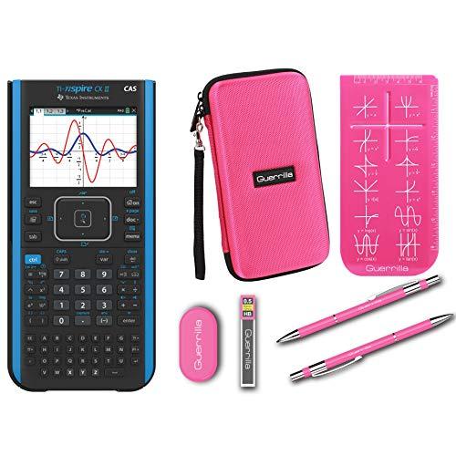 Texas Instruments Ti Nspire CX II CAS Graphing Calculator + Guerrilla Zipper Case + Essential Graphing Calculator Accessory Kit, Black (Pink)