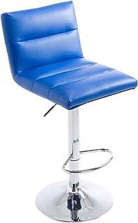 CLP Taburete De Bar Limerick Tapizado En Simil Cuero & Base De Metal | Silla Alta Regulable En Altura & Giratoria, Color:Azul, Color del Marco:Cromado