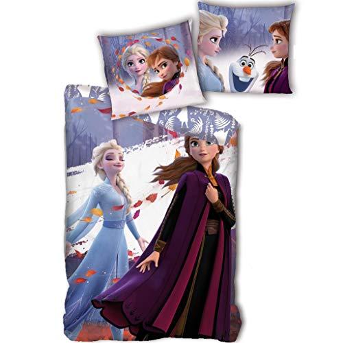 AYMAX S.P.R.L. Ropa de cama infantil de Frozen 140 x 200 cm + 63 x 63 cm, Anna y Elsa