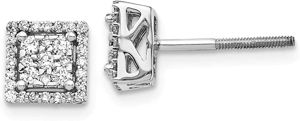 Solid 14k White Gold Diamond Square Screw Back Post Studs Earrings 7mm (.318 cttw.)