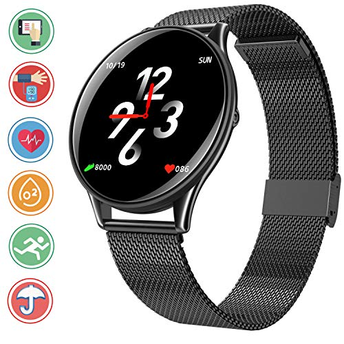 Bluetooth Smartwatch Fitness Tracker, Sport Uhr Intelligente Armbanduhr Smart Watch mit Herzfrequenz Schlaftracker Schrittzähler Überwachung Remote Kamera Kompatibel mit Android iOS,Schwarz