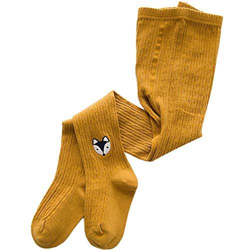 Panty's baby meisjes thermische panty kinderen gebreide panty winterleggings katoen patroon broek met sokken routes met rok M/3-5Y gember geel