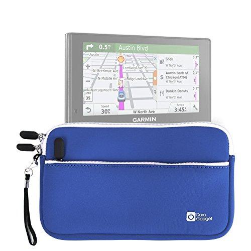 DURAGADGET Funda De Neopreno Azul para Garmin DriveSmart 70LMT - con Bolsillo Exterior + Correa De Mano