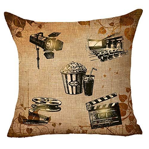 XMNTG Retro Film Art Cinema Popcorn Cola Film Film Projector Best Gift Square Throw Pillowcase Cotton Linen Cushion Cove Family Decoration Case 18 Inch