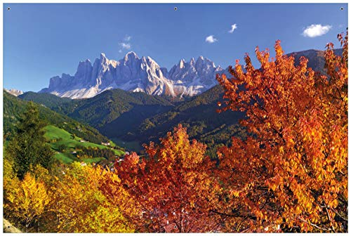 Wallario Garten-Poster Outdoor-Poster - Herbst im Gebirgstal unter blauem Himmel in Premiumqualität, Größe: 61 x 91,5 cm, für den Außeneinsatz geeignet