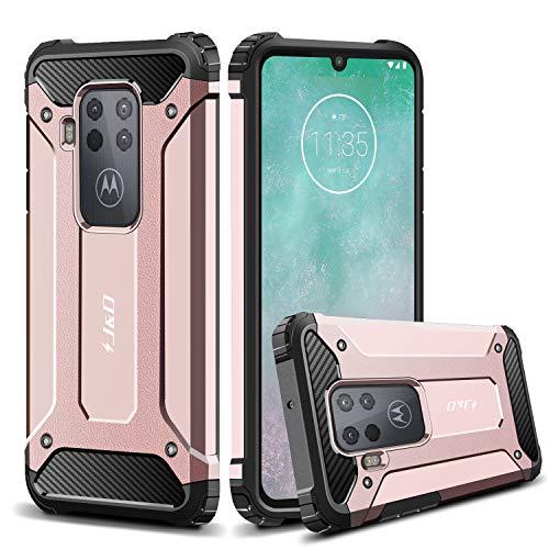 JundD Kompatibel für Motorola One Zoom Hülle, [ArmorBox] [Doppelschicht] [Heavy-Duty-Schutz] Hybrid Stoßfest Schutzhülle für Moto One Zoom Handyhülle - Rose Gold