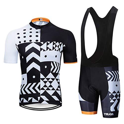 Herren Radfahren Jersey Berg Fahrrad Kurz Ärmel Einstellen Schnelltrocknend Voll Reißverschluss Reiten Kleider mit 9D Gepolstert MTB Reiten Kleidung Kit (Color : 2, Size : G(3XL))