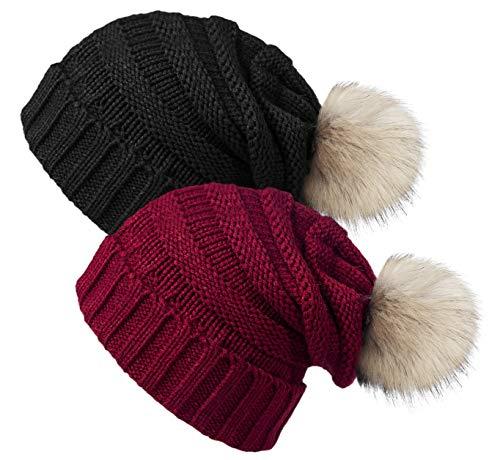 YSense 2pcs Bonnet Femme Hiver avec Pompon, Bonnet en Tricot Chaud avec Doublure Polaire