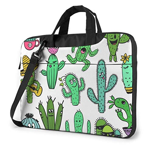 Laptop Bag Satchel Tablet,Colorful Funny Cactus Characters Notebook Sleeve Carrying Case,Laptop Shoulder Bag Sleeve Case For Women & Men Ultra Thin Durable
