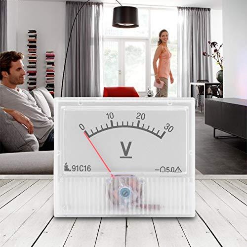 Professionelle DC 0-30V Analog Volt Voltage Panel Meter Voltmeter Messgerät mit Genauigkeitsklasse 2,5 tragbar und praktisch - Weiß