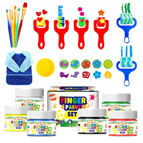 Early Learning Kids Paint Set Washable Finger Paint Kit with Painting Brushes Apron Sponges for Toddlers Children Drawing Christmas Gift 6 Colors 100ml/Can