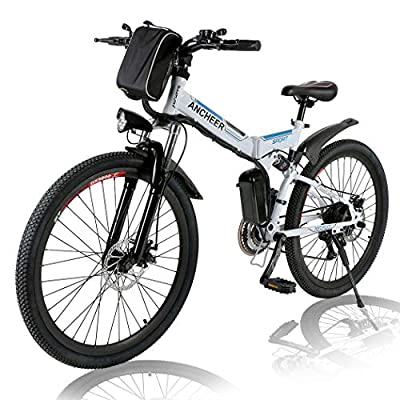 Angotrade 26 inch Electric Bike Folding Mountain E-Bike 21 Speed 36V 8A Lithium Battery Electric Bicycle for Adult (White)