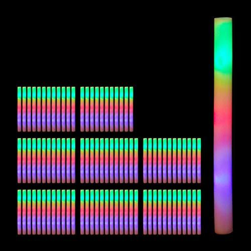 Relaxdays 96 x Leuchtstäbe LED, Blinkstäbe aus Schaumstoff, Leuchtstick 3 Leuchtmodi, Batterien, Partystab 46,5 cm lang, weiß